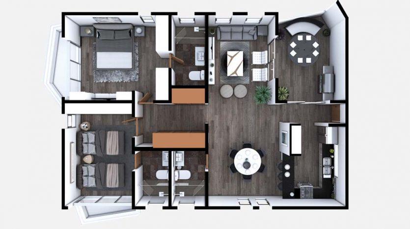 starlight towers playa del carmen 2 bedroom penthouse 10 835x467 - Starlight Towers 2 Bedroom Penthouse