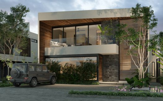 pure custom homes Lote 7 Fachada Noche 525x328 - Pure Residences Custom Home